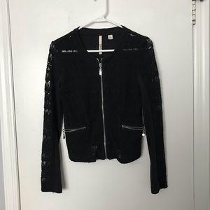Black Cropped Lace Jacket